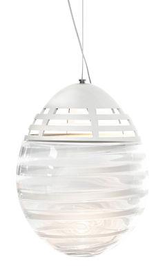 Lighting - Pendant Lighting - Incalmo LED Pendant - Ø 39 x H 53 cm / Blown glass & metal by Artemide - H 53 cm / White stripes - Blown glass, Painted aluminium