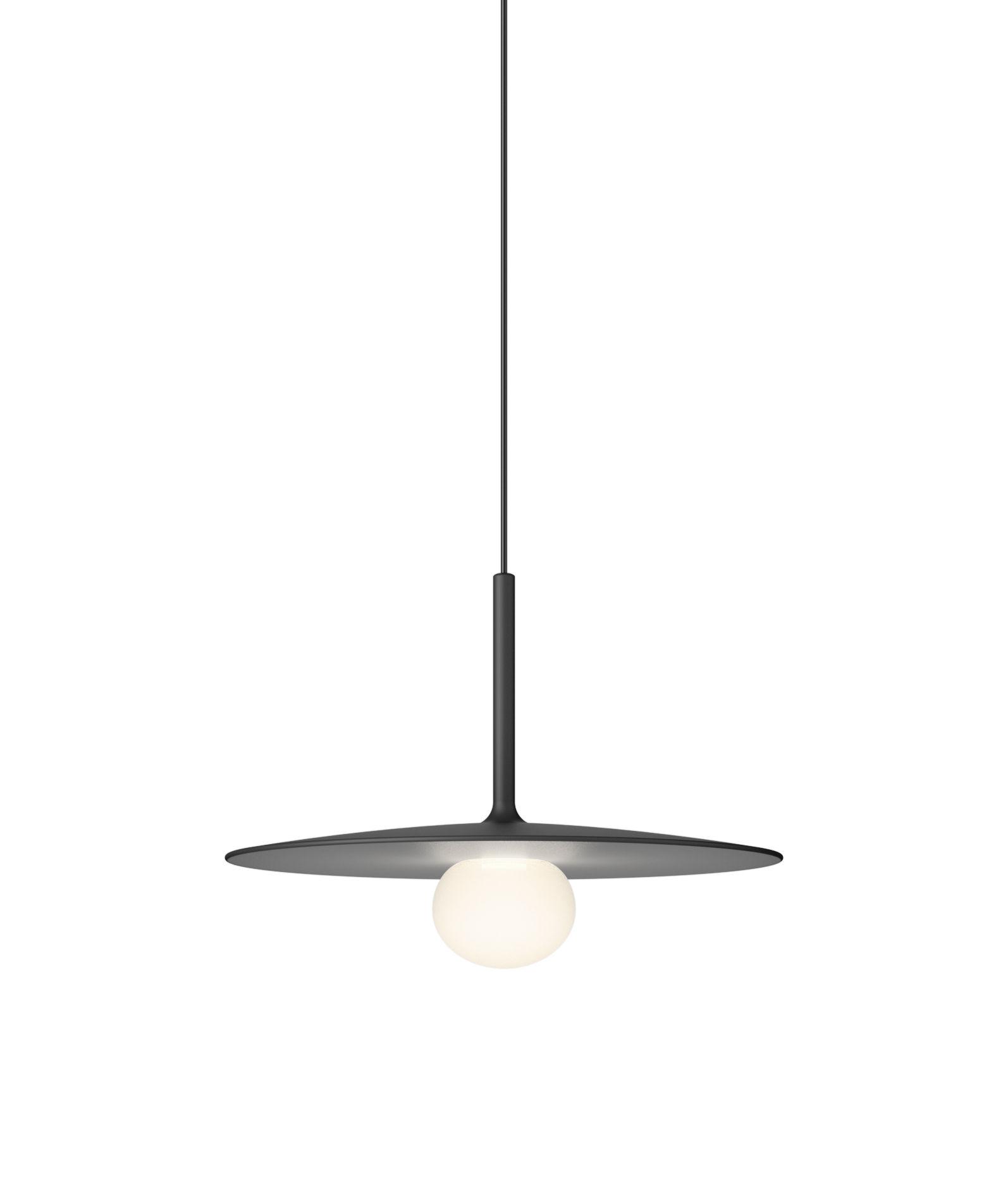 Lighting - Pendant Lighting - Tempo Disque Small Pendant - / LED - Ø 25 cm by Vibia - Graphite grey - Blown glass, Lacquered aluminium
