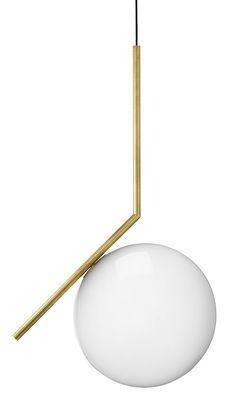 Leuchten - Pendelleuchten - IC S2 Pendelleuchte / H 72 cm - Flos - Messing - geblasenes Glas, Stahl