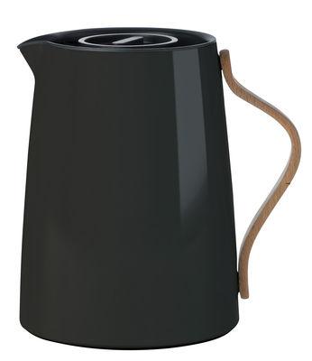 Arts de la table - Thé et café - Pichet isotherme Emma / 1 L - Stelton - Noir & bois - Acier inoxydable laqué, Hêtre