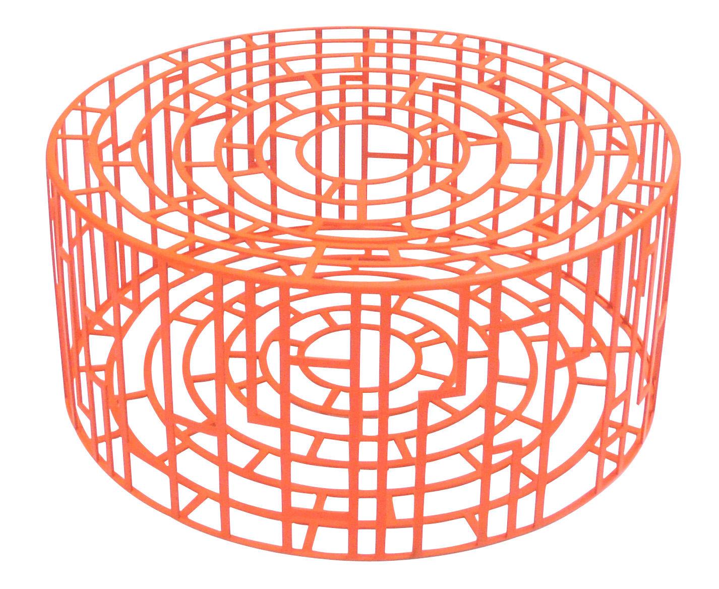 Mobilier - Tables basses - Pouf Kub Ø 65 cm x H 28 cm - Moroso - Rouge - Acier verni
