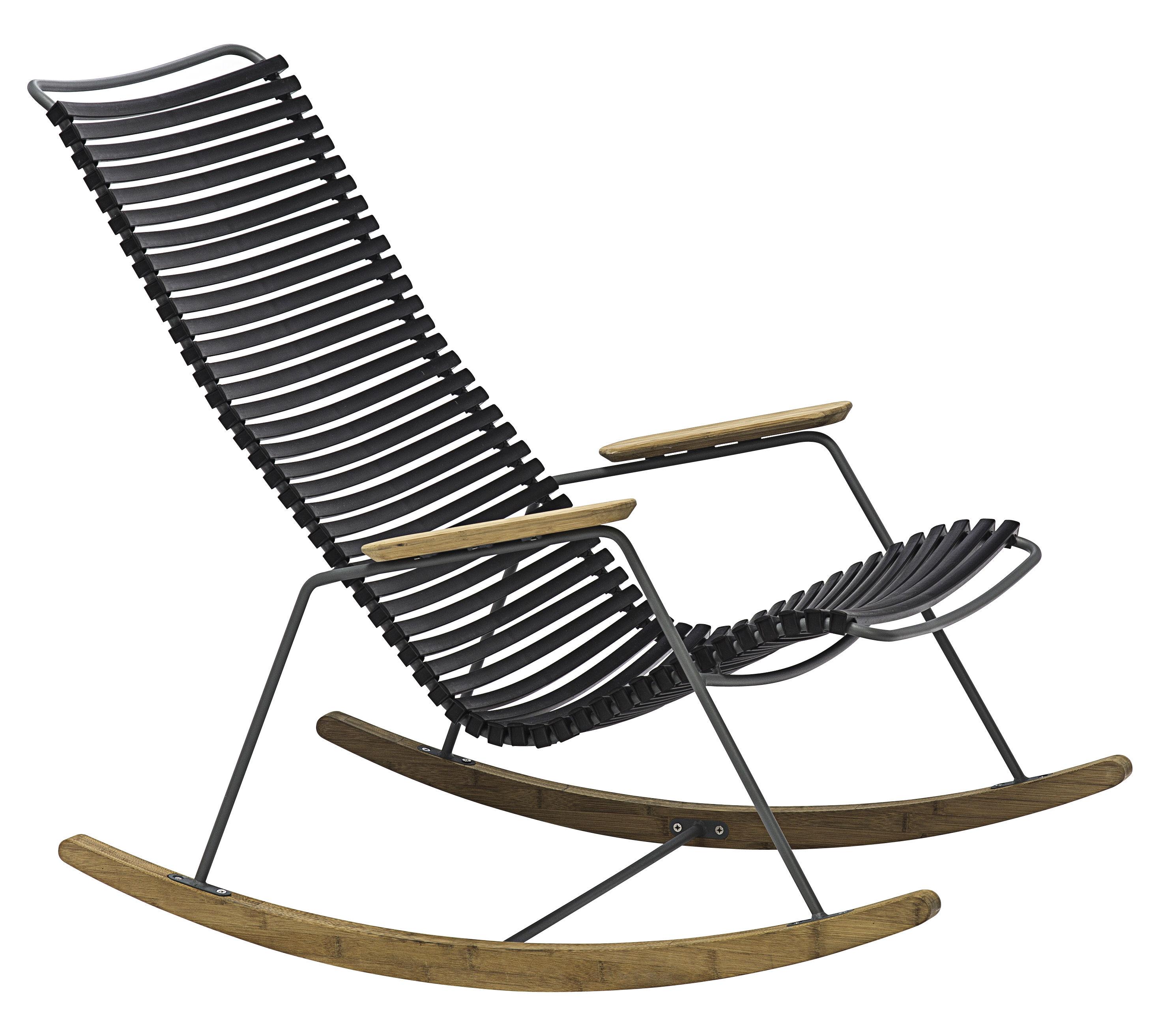 Arredamento - Poltrone design  - Rocking chair Click / Plastica & bambù - Houe - Nero - Bambù, Materiale plastico, Metallo