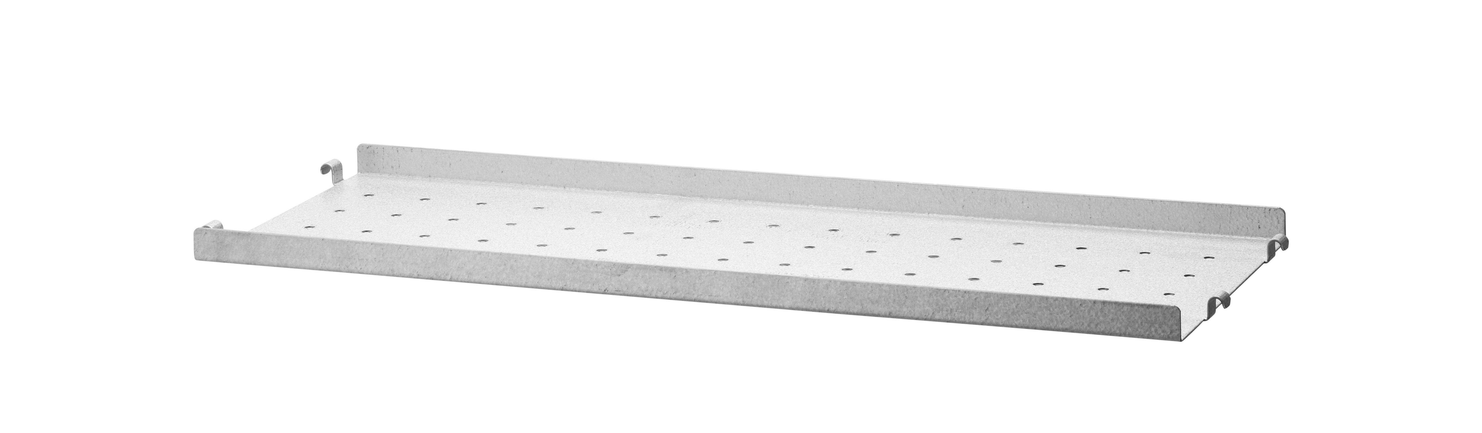 Arredamento - Scaffali e librerie - Scaffale String Outdoor - / Acciaio zincato traforato - Bordo basso - 58 x P 20 cm di String Furniture - Acciaio zincato - Aluzinc
