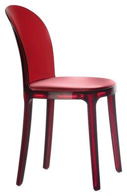 Arredamento - Sedie  - Sedia Murano Vanity Chair - struttura colorata di Magis - Rosso / Cuscino Borgogna - policarbonato, Tessuto
