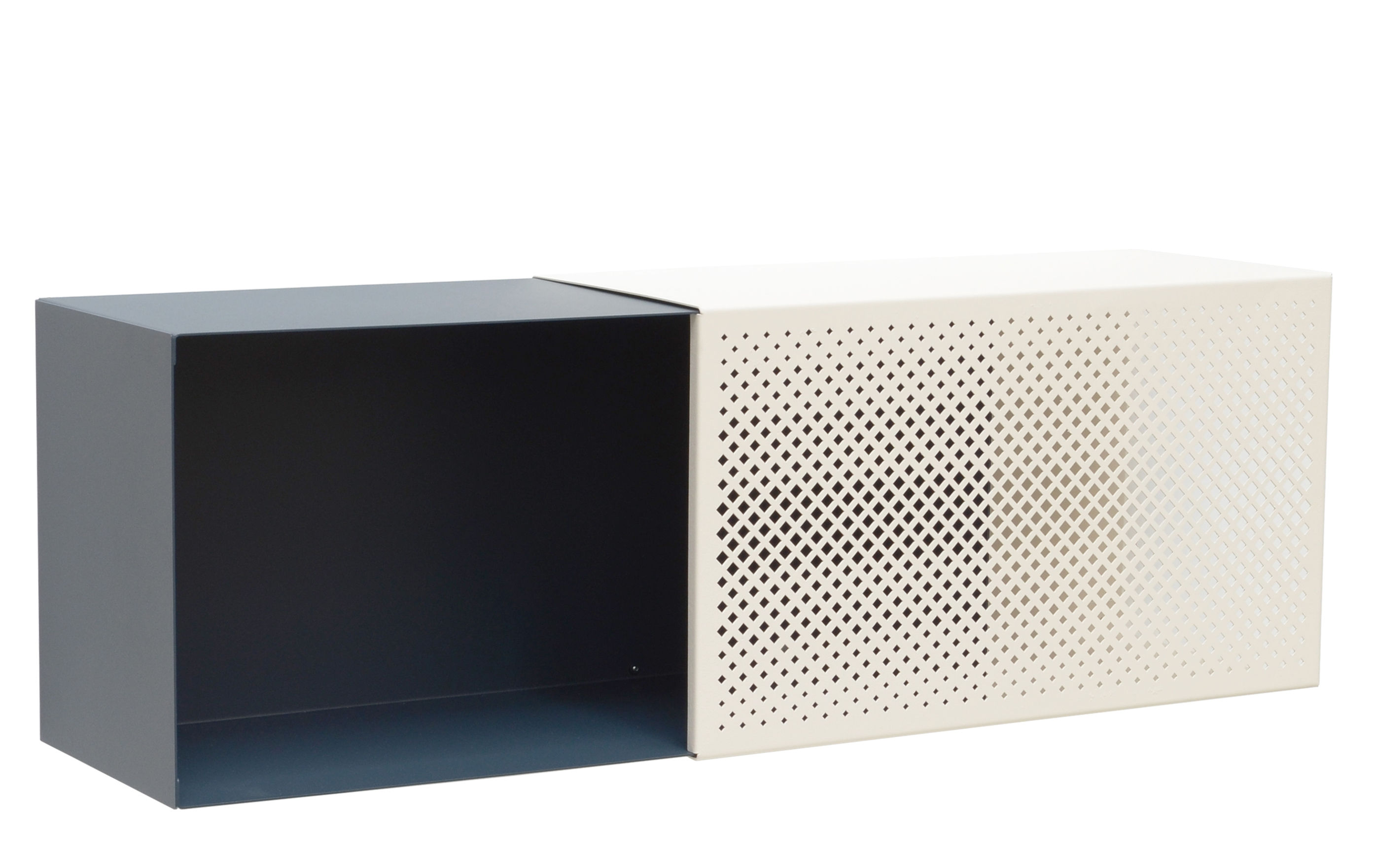 Furniture - Bookcases & Bookshelves - Perfo Ba Shelf - Microperforated sheet metal - 70 x 23 cm by Presse citron - Navy / Beige - Lacquered steel