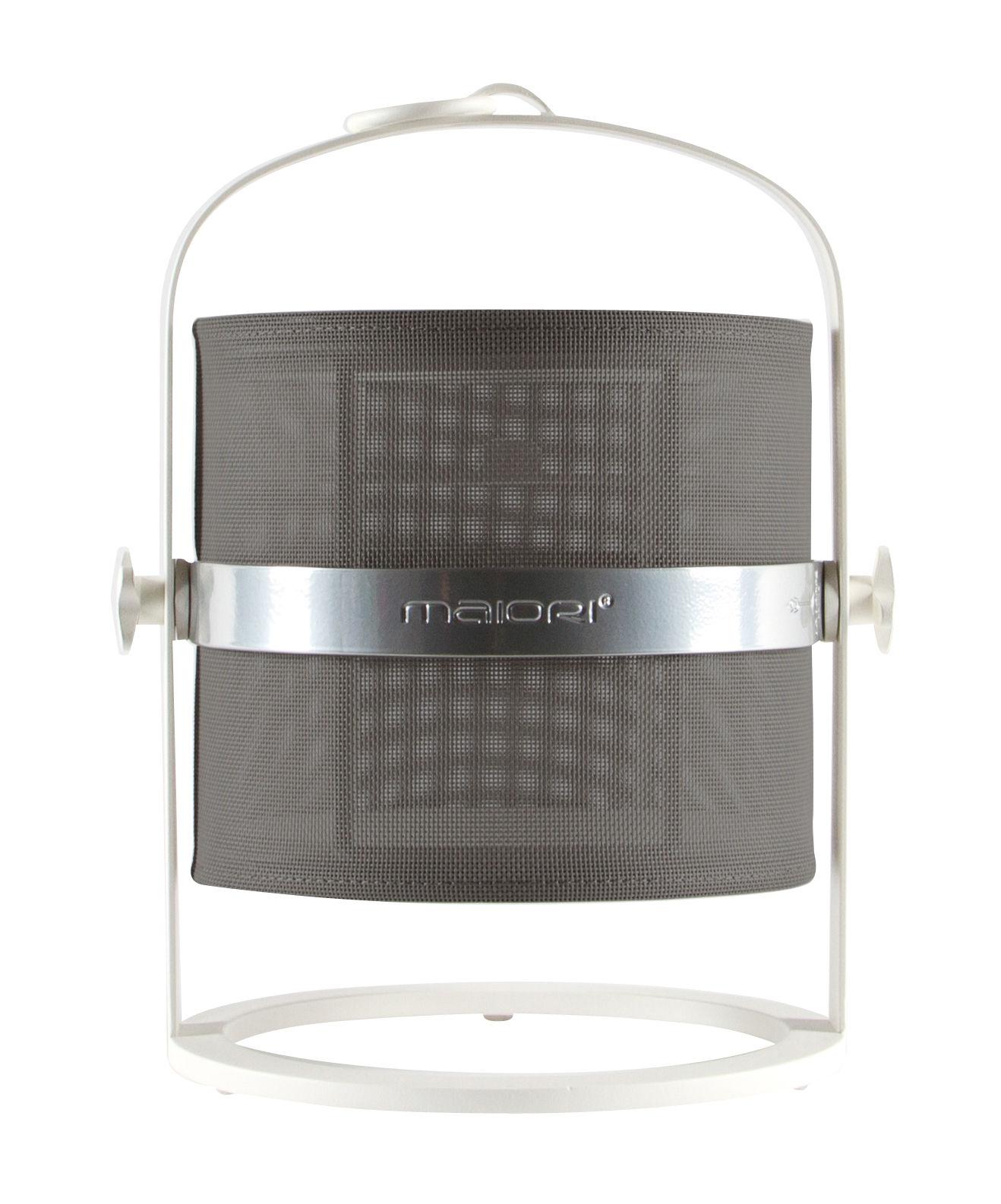 Leuchten - Tischleuchten - La Lampe Petite LED Solarlampe / kabellos - Gestell weiß - Maiori - Khaki / Gestell weiß - Aluminium, Tissu technique
