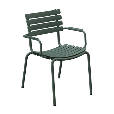 Furniture - Chairs - ReCLIPS Stackable armchair - / Metal armrests - Recycled plastic by Houe - Olive green - Recycled plastic, Thermolacquered aluminium