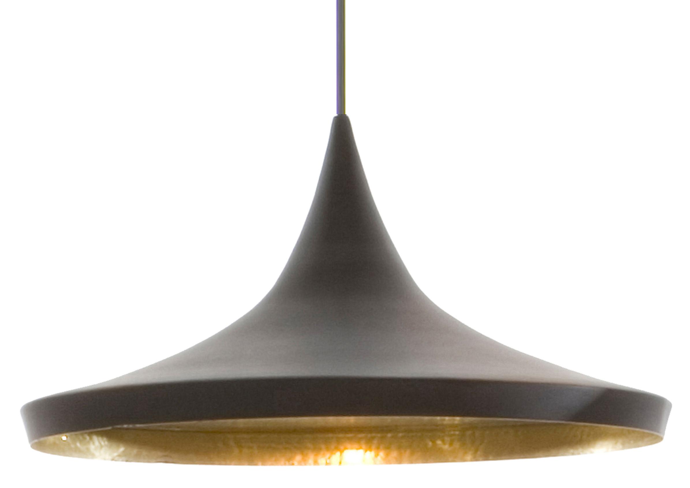Luminaire - Suspensions - Suspension Beat Wide / Ø 36 cm x H 16 cm - Tom Dixon - Noir / intérieur doré - Laiton