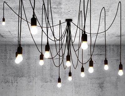 Luminaire - Suspensions - Suspension Maman / 14 ampoules LED incluses - Seletti - Ampoules blanc satiné / Câbles noirs - Métal, Plastique, Silicone