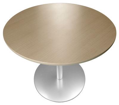 Mobilier - Mange-debout et bars - Table à hauteur réglable Rondo / Ø 90 cm - Lapalma - Chêne blanchi - Aluminium anodisé, Chêne blanchi