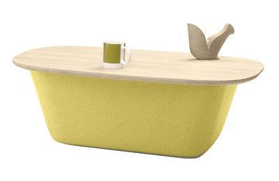 Table basse Lasai / Coffre - Chêne & feutre - 94 x 65 cm - Alki jaune/vert/bois naturel en tissu/bois