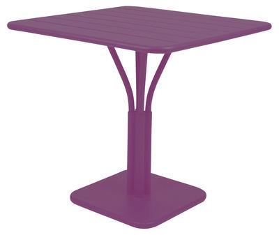 Table de jardin Luxembourg / 80 x 80 cm - Pied central - Aluminium - Fermob aubergine en métal