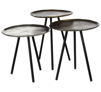 Mobilier - Tables basses - Tables gigognes Skippy / Set de 3 - Nickel & laiton - Pols Potten - Nickel, Laiton vieilli, Laiton patiné - Aluminium plaqué, Fer laqué