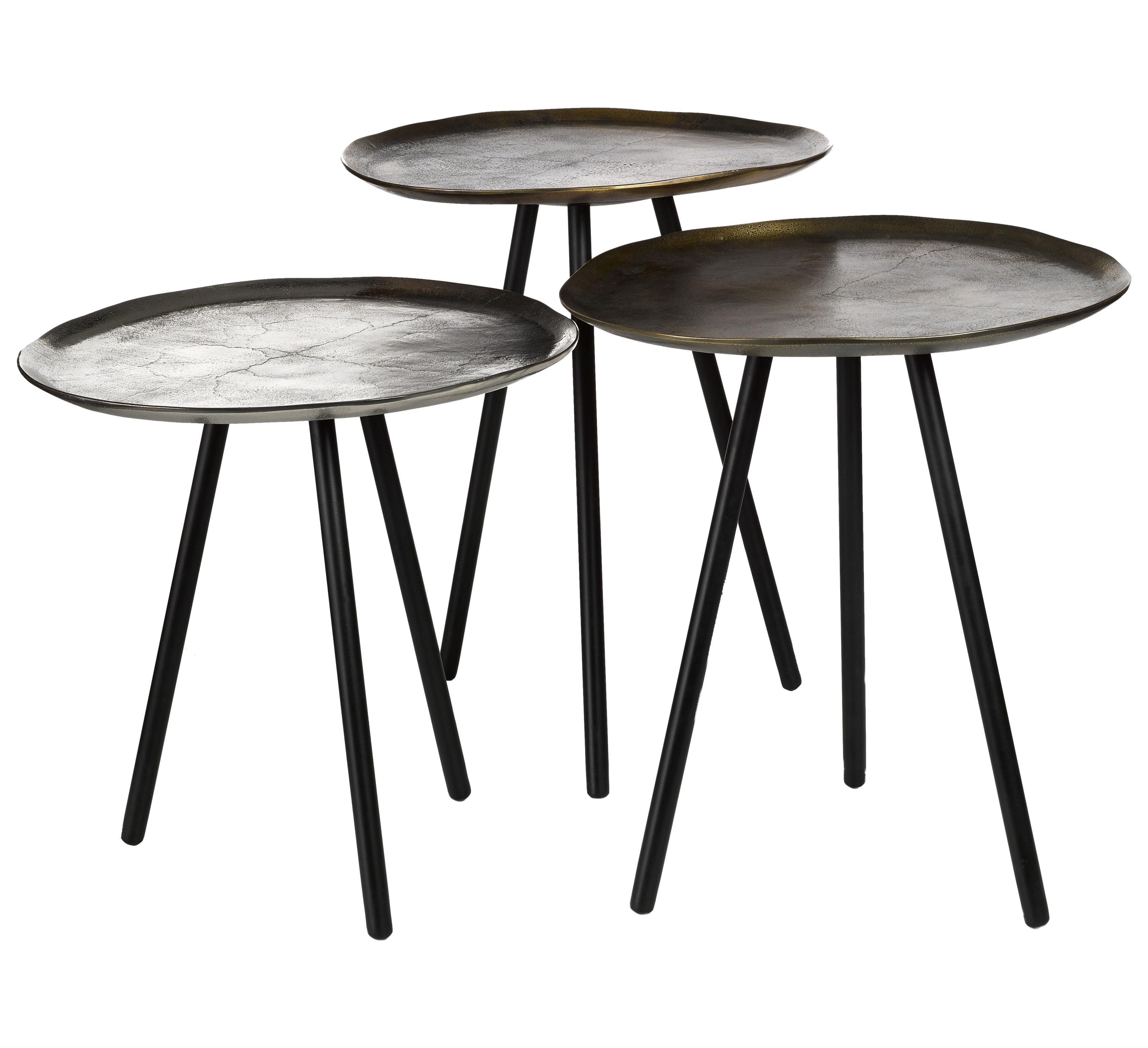 Mobilier - Tables basses - Tables gigognes Skippy / Set de 3 - Nickel & laiton - Pols Potten - Nickel, Laiton vieilli, Laiton patiné - Aluminium plaqué, Fer laqué