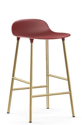 Tabouret de bar Form / H 65 cm - Pied laiton - Normann Copenhagen rouge,laiton en métal