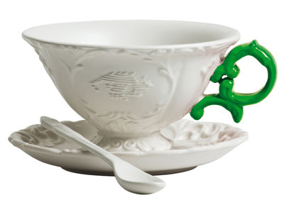 Tasse à thé I-Tea / Set tasse + soucoupe + cuillère - Seletti blanc/vert en céramique