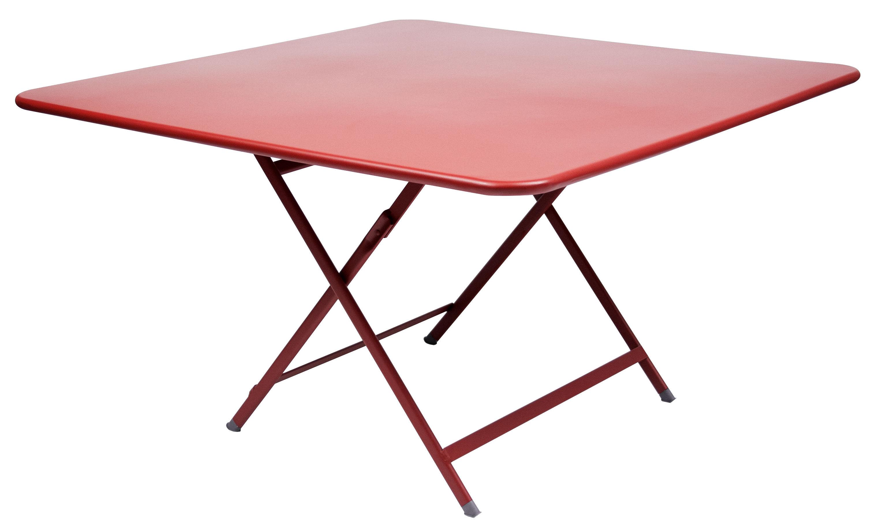 Outdoor - Tavoli  - Tavolo pieghevole Caractère - / 128 x 128 cm di Fermob - Papavero - Acciaio laccato