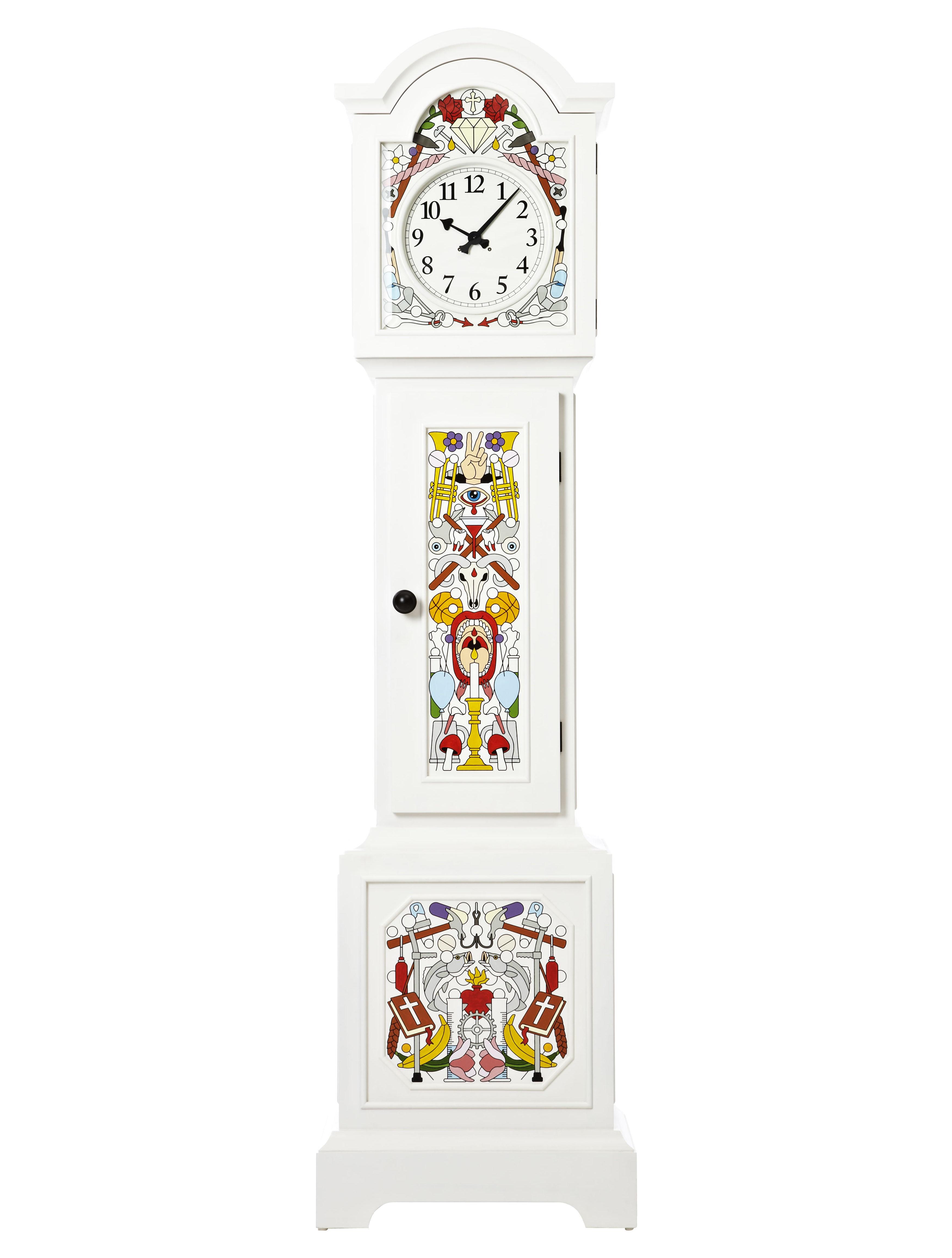 Dekoration - Uhren - Altdeutsche Uhr / Handbemalt - Moooi - Standuhr - Weiß und vielfarbig - Pin massif