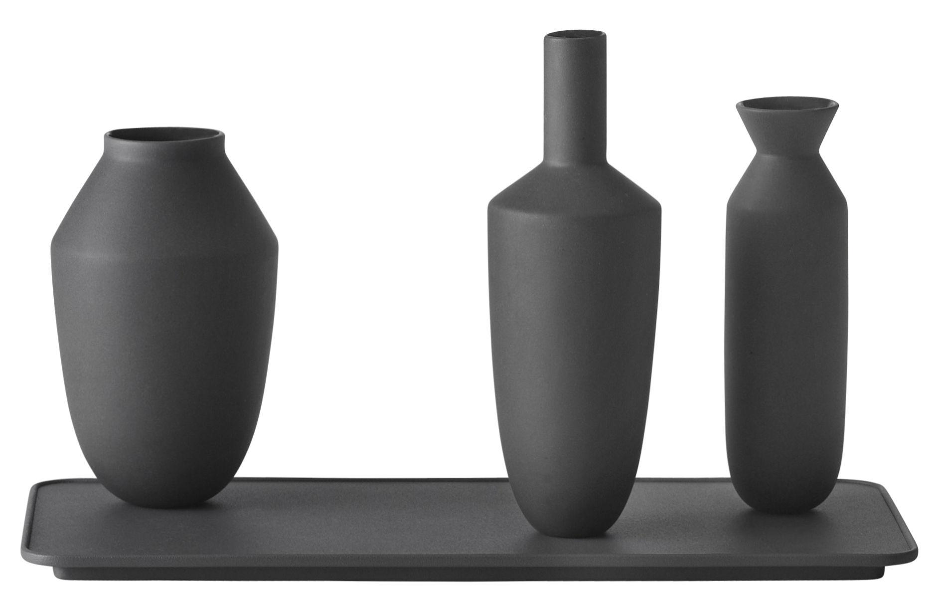 Déco - Vases - Vase Balance / Set plateau + 3 vases aimantés - Muuto - Vases noirs / Plateau noir - Acier peint, Porcelaine