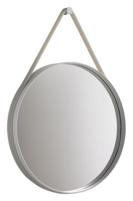 Möbel - Spiegel - Strap Wandspiegel Ø 70 cm - Hay - Ø 70 cm -  Fassung hellgrau / Halteband hellgrau - lackierter Stahl, Silikon