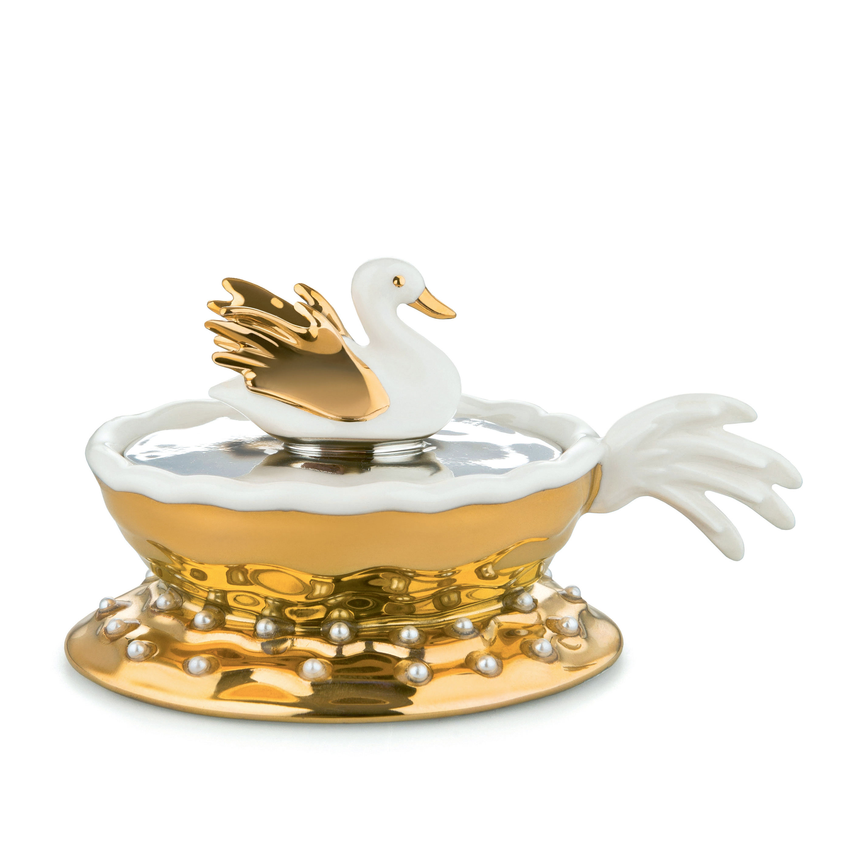 Decoration - Home Accessories - Narciso Bauble - / Hand-painted porcelain by Alessi - Gold & white - China