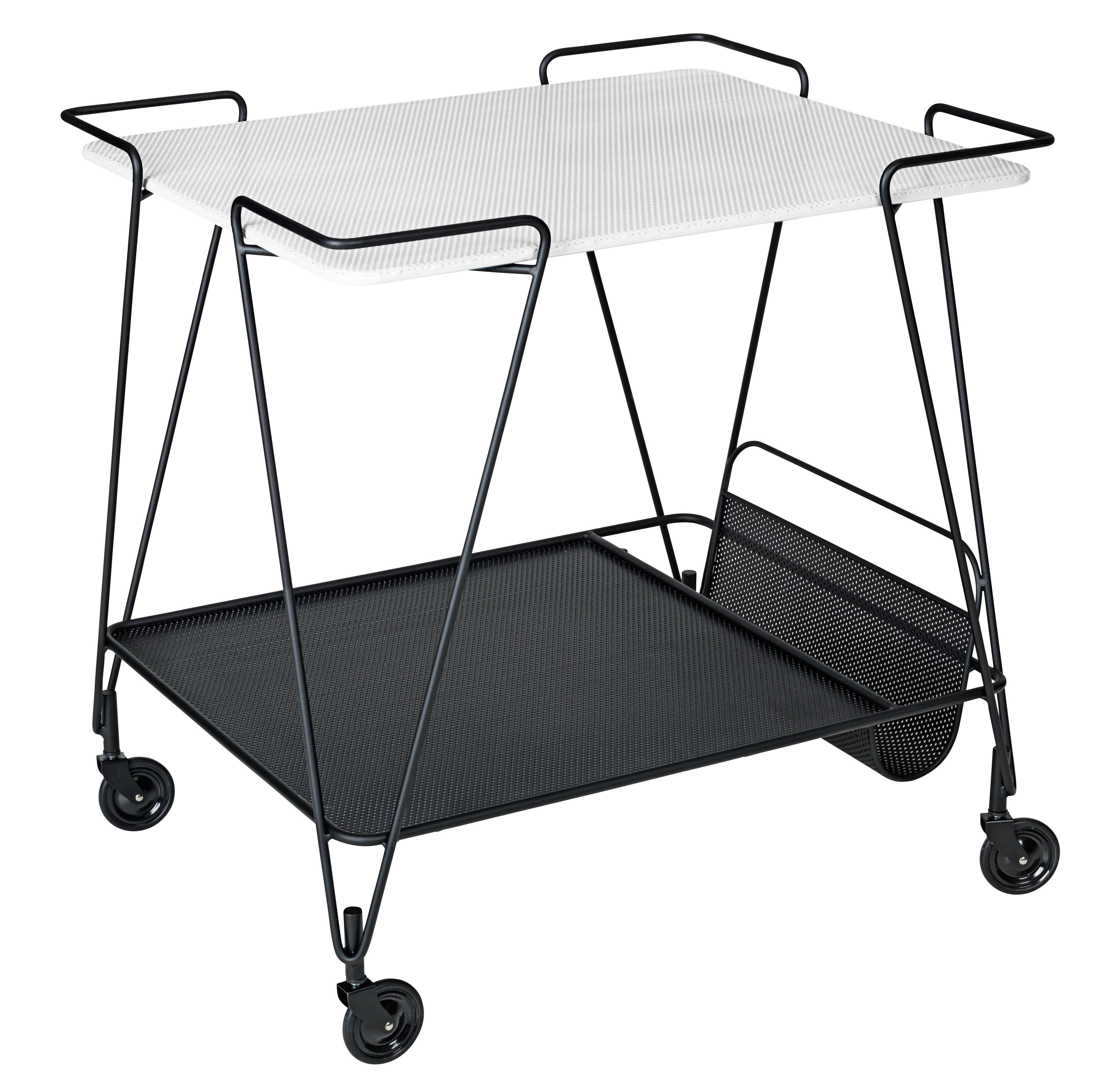 Arredamento - Complementi d'arredo - Carrello/tavolo d'appoggio Trolley - / Matégot - Riedizione 1954 di Gubi - Nero / Piano bianco - metallo verniciato