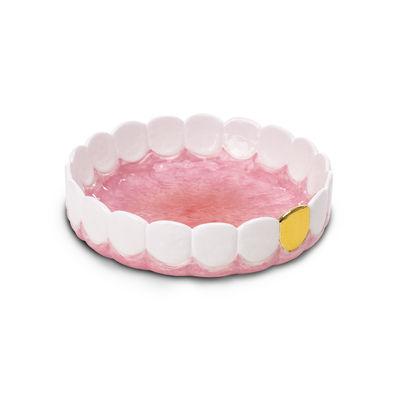 Déco - Corbeilles, centres de table, vide-poches - Cendrier Holy Smokes / Vide-poches - Céramique / Ø 20  cm - Seletti - Blanc, or & rose - Céramique