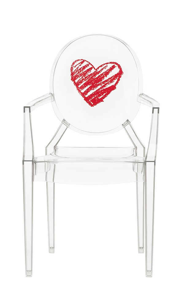 Furniture - Kids Furniture - Lou Lou Ghost Children armchair - / Patterns by Kartell - Transparent / Cœur - Polycarbonate