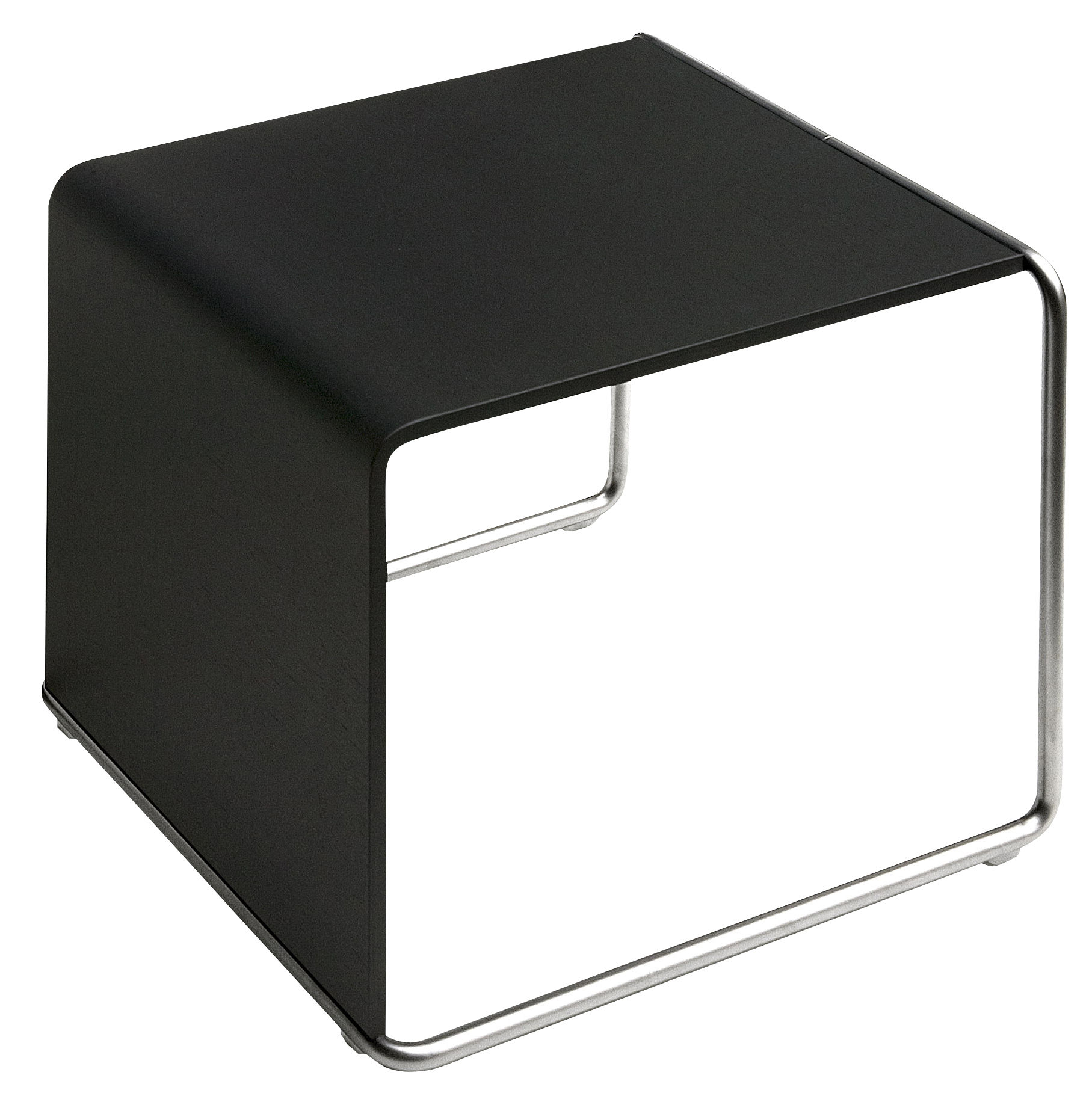 Furniture - Coffee Tables - Ueno End table by Lapalma - Laquered black - Oak, Sandy stainless steel
