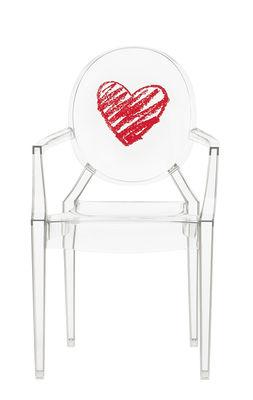 Fauteuil enfant Lou Lou Ghost / Dossier décoré - Kartell rouge/transparent en matière plastique
