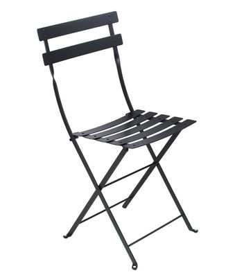 Furniture - Chairs - Bistro Folding chair - Metal by Fermob - Liquorice - Lacquered steel