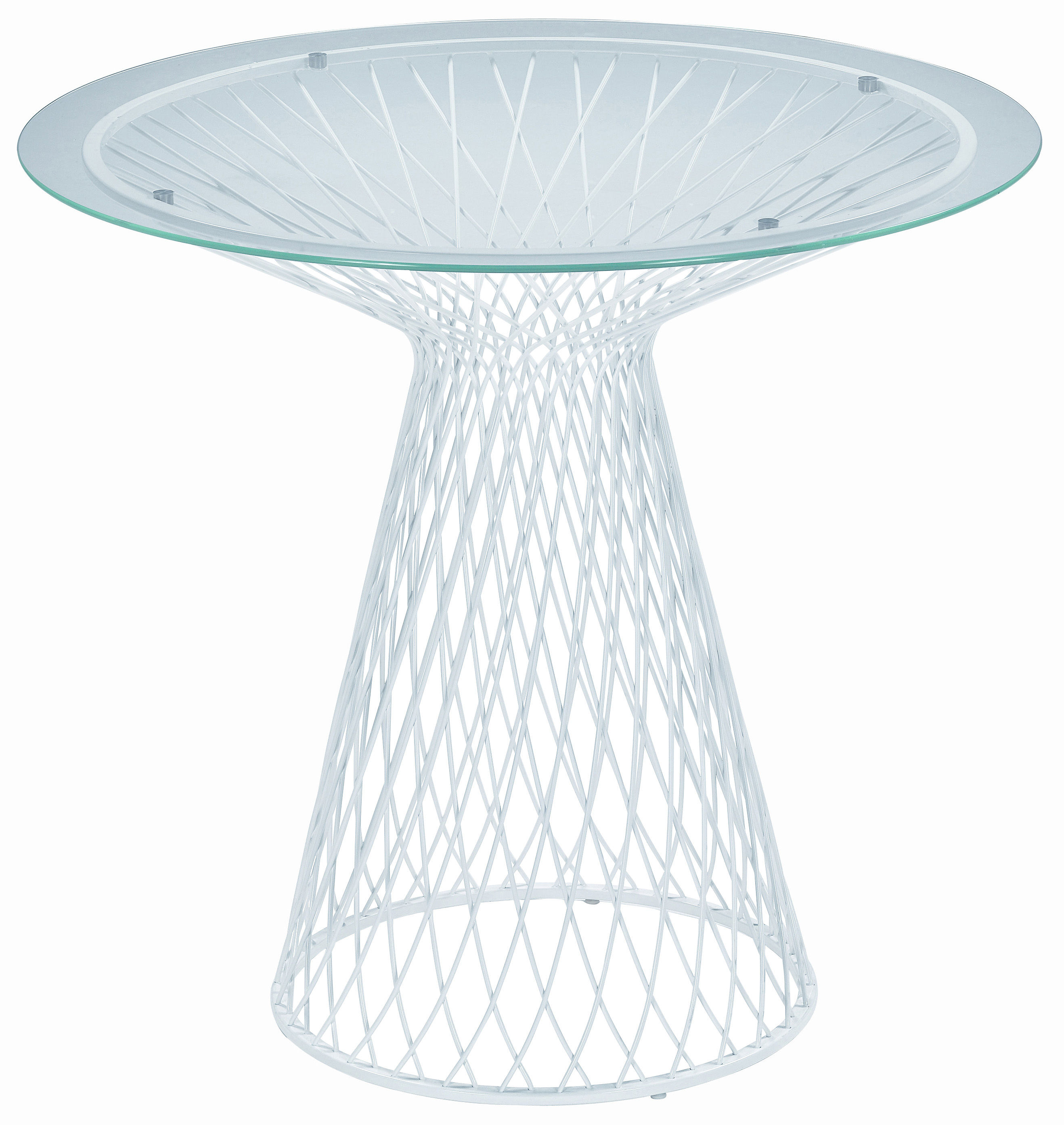Outdoor - Garden Tables - Heaven Garden table - Ø 80 by Emu - Matt white - Glass, Steel