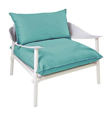 Terramare Gepolsterter Sessel / Stoff & Kunstleder - Emu - Weiß,Türkisblau