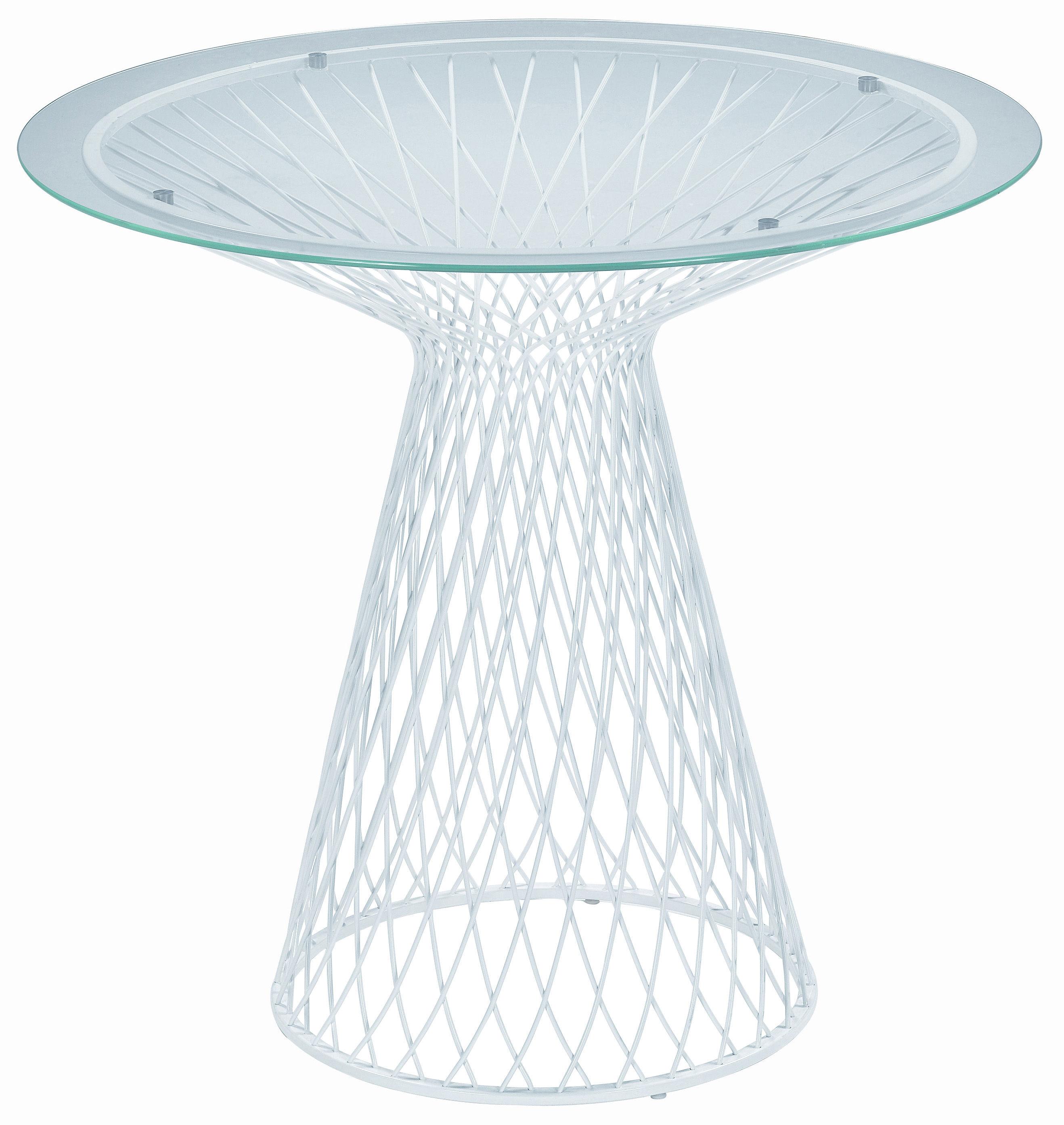 Outdoor - Tavoli  - Table ronde Heaven - Ø 80 di Emu - Bianco - Acciaio, Vetro