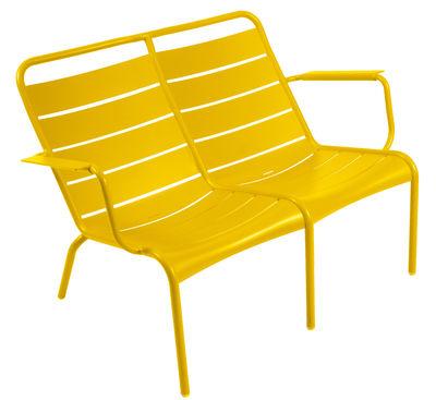 Life Style - Panca con schienale Luxembourg Duo - / 2 posti di Fermob - Miele - Alluminio laccato
