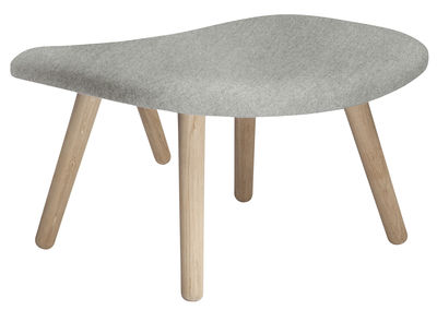 Arredamento - Pouf - Pouf About a Lounge - / Tessuto Hallingdal di Hay - Tessuto grigio chiaro /Gambe legno naturale - Rovere massello, Tessuto Kvadrat