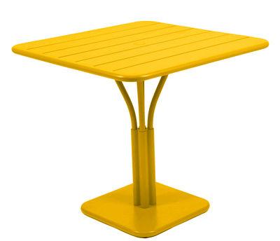 Outdoor - Gartentische - Luxembourg quadratischer Tisch / einbeiniger Tisch - für 2 bis 4 Personen - 80 x 80 cm - Fermob - Honig - lackiertes Aluminium