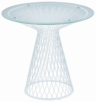 Outdoor - Garden Tables - Heaven Round table - Ø 80 by Emu - Matt white - Glass, Steel