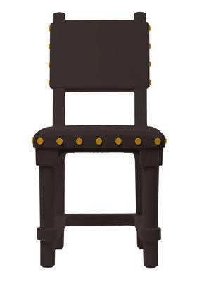 Scopri sedia gothic chair marrone bottoni gialli di for Sedia design marrone