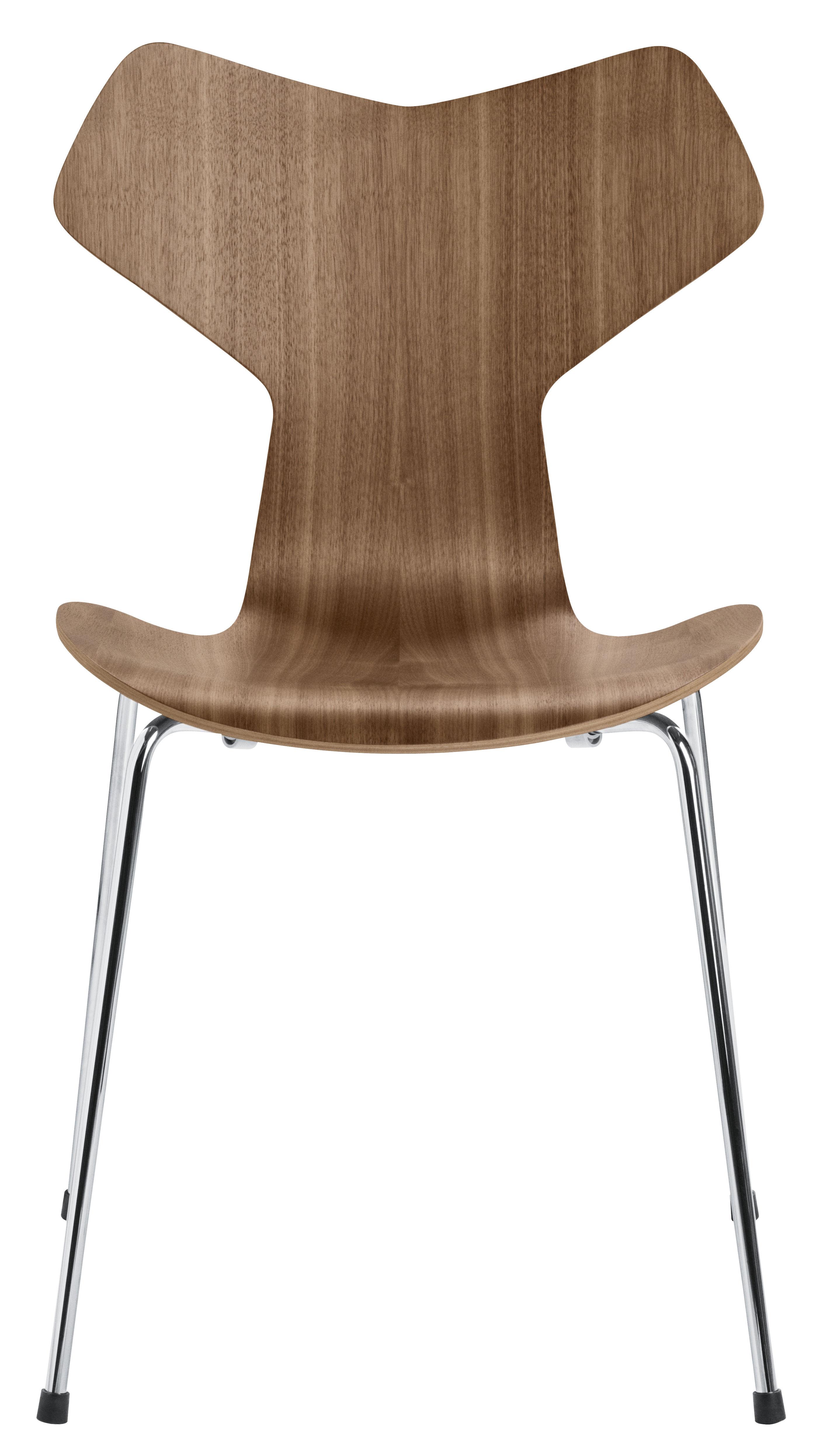 Furniture - Chairs - Grand Prix Stacking chair - / Bois naturel by Fritz Hansen - Noyer naturel - Steel, Walnut