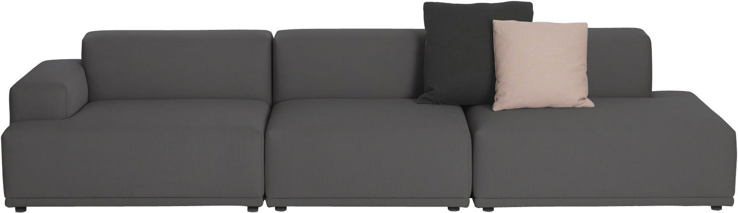 Furniture - Sofas - Connect Straight sofa -  3 modules - W 326 cm by Muuto - Dark grey - Remix 163 - Foam, Kvadrat fabric, Wood