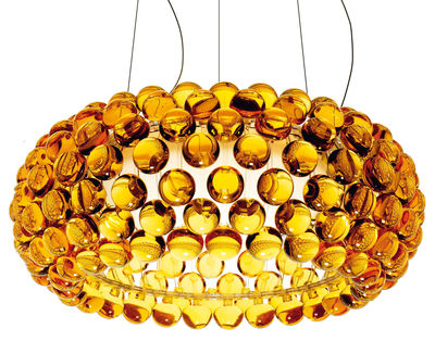 Suspension Caboche Media / Ø 50 cm - Foscarini ambre en matière plastique