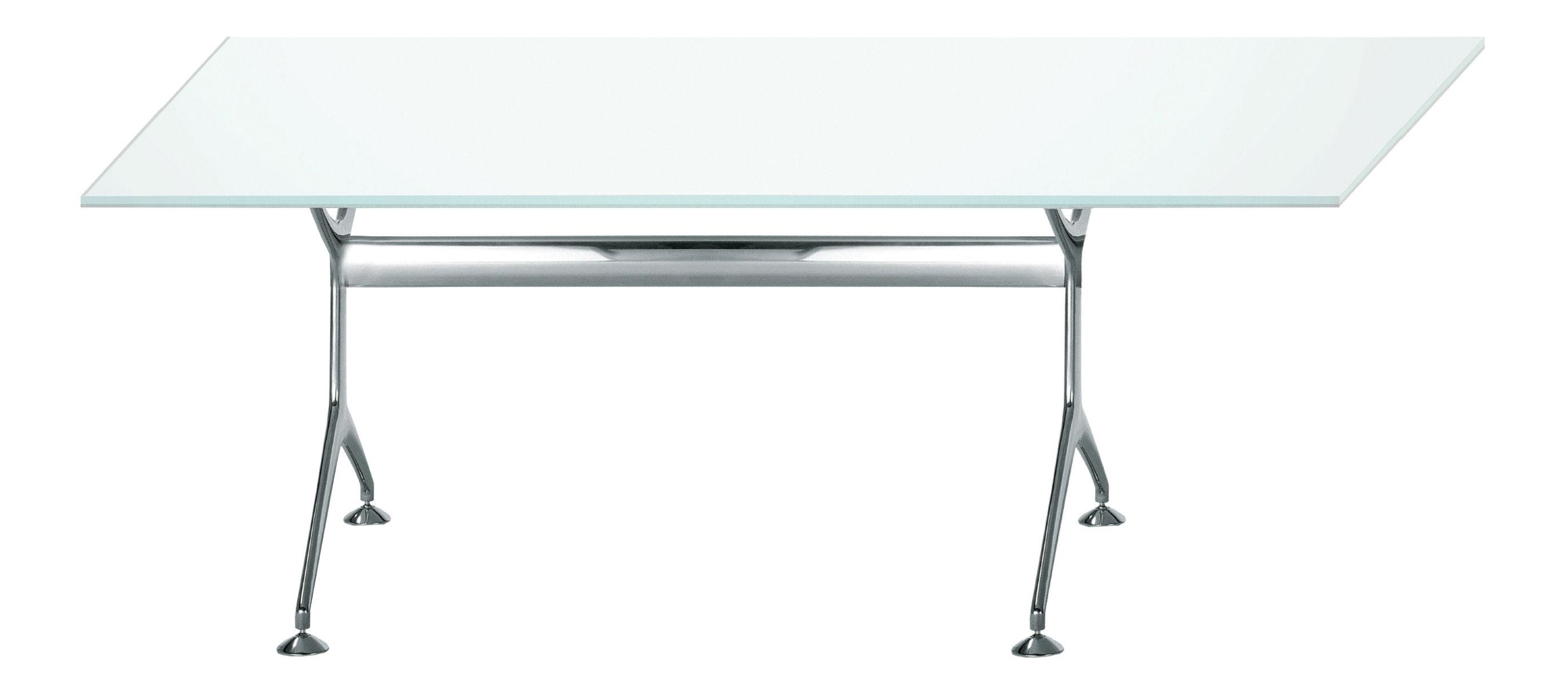 Mobilier - Bureaux - Table rectangulaire Frametable / 190 x 85 cm - Alias - Structure en aluminium poli / plateau en verre double face blanc - Aluminium poli, Verre