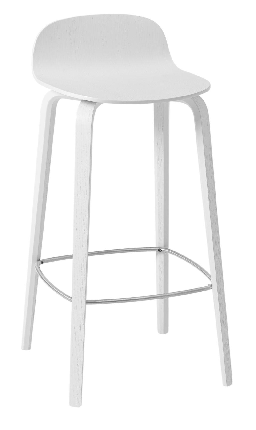 Mobilier - Tabourets de bar - Tabouret de bar Visu / Bois - H 75 cm - Muuto - Blanc / Repose-pieds acier - Acier vernis, Frêne vernis