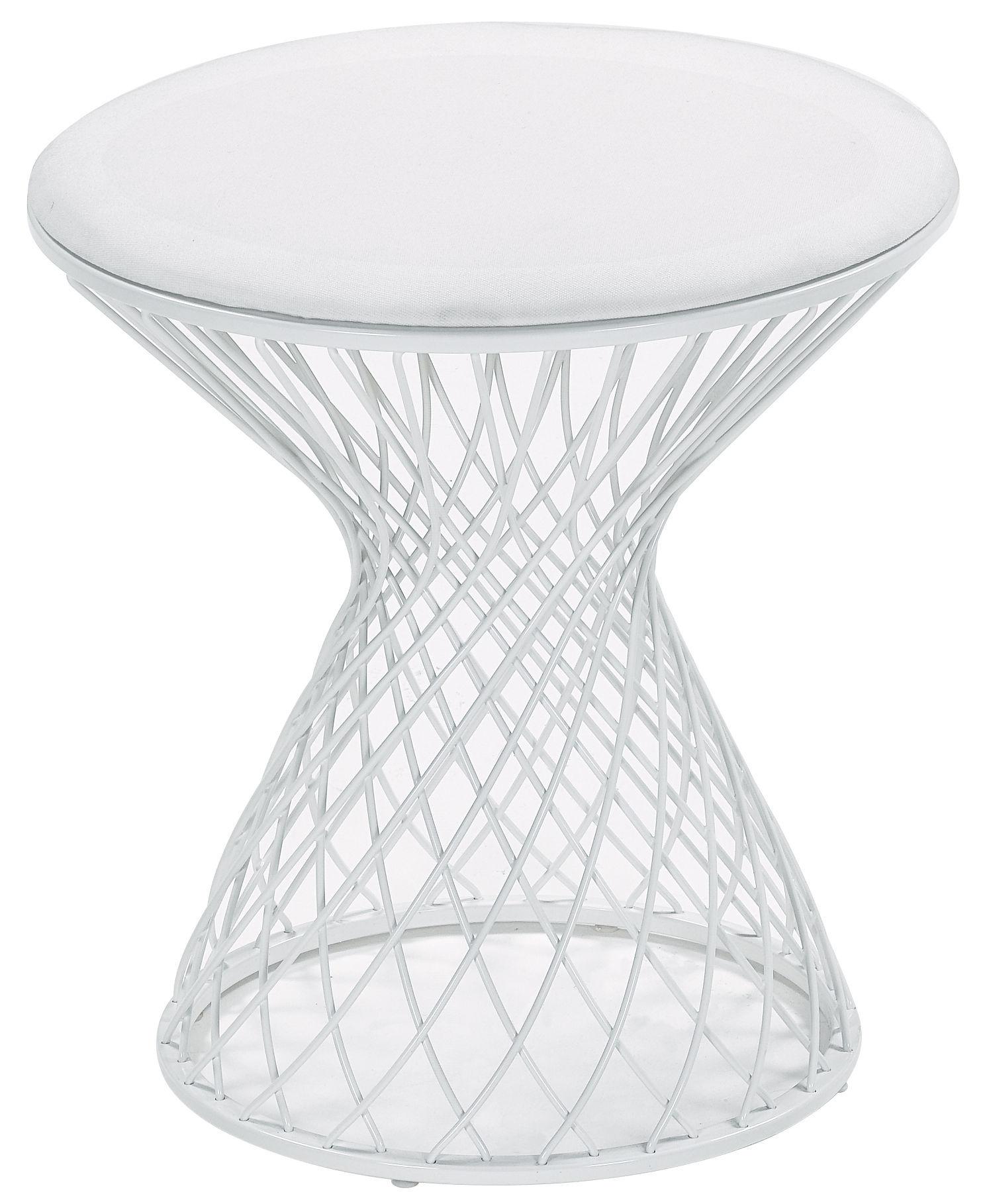 Mobilier - Tabourets bas - Tabouret Heaven / Tissu & métal - Emu - Blanc mat - Acier, Tissu acrylique
