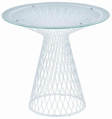 Outdoor - Tavoli  - tavolo da giardino Heaven - Ø 80 di Emu - Bianco - Acciaio, Vetro