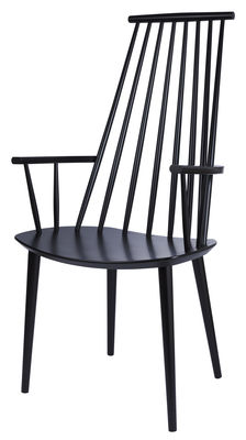 Furniture - Chairs - J110 Armchair - Wood by Hay - Black - Tinted solid beech
