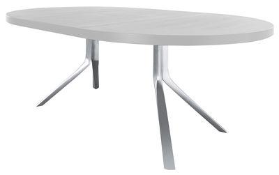 Möbel - Tische - Oops Ausziehtisch zum Ausziehen - Kristalia - Tischplatte Glas weiß / Einlegeplatten Alu weiß lackiert - gebürstetes Aluminium, lackierte Holzfaserplatte