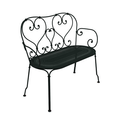 Furniture - Benches - 1900 Bench with backrest by Fermob - Liquorice - Steel