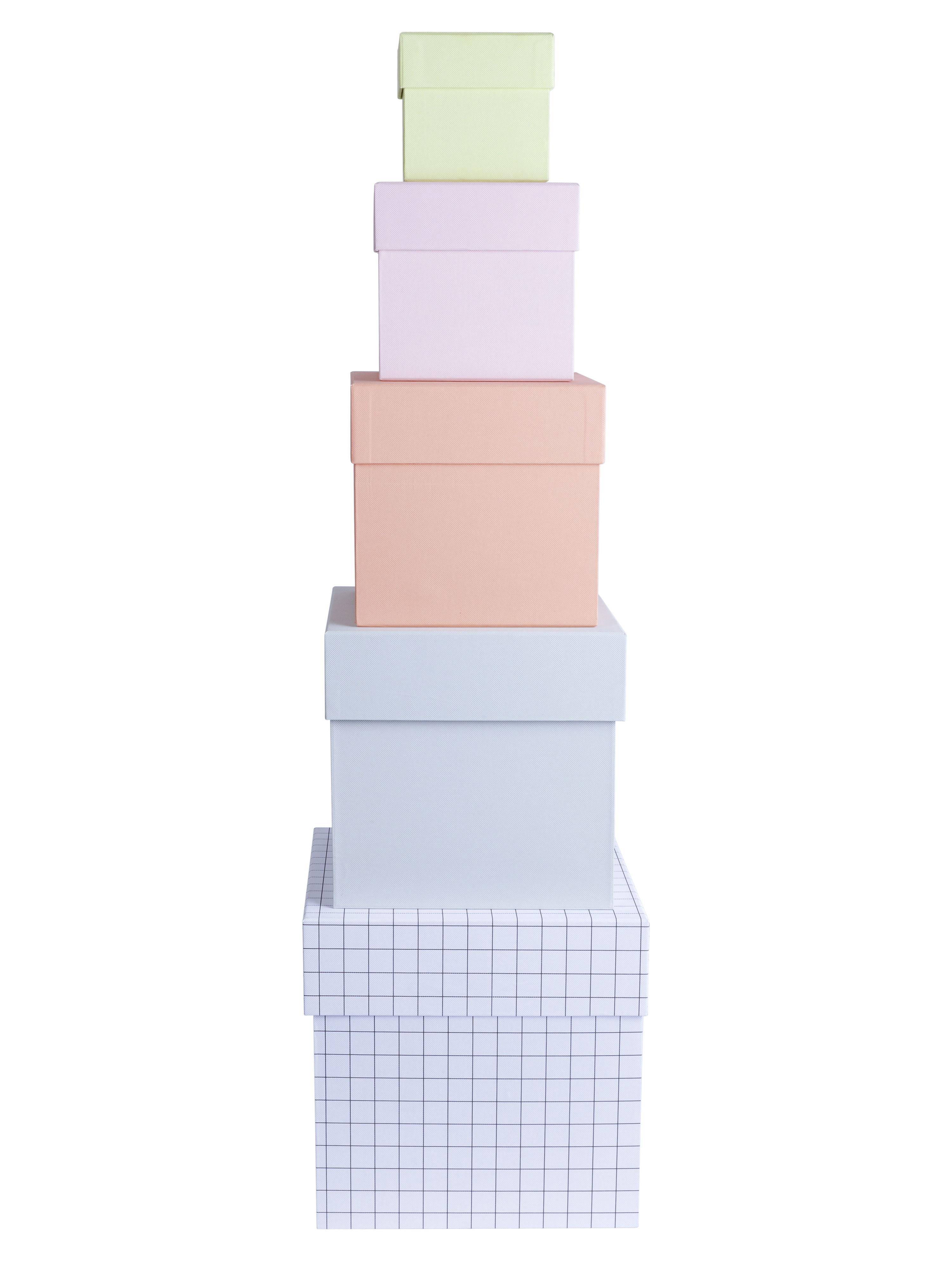 Accessoires - Accessoires bureau - Boîte Box Box / Set de 5 - Hay - Multicolore / Pêche & quadrillé - Carton